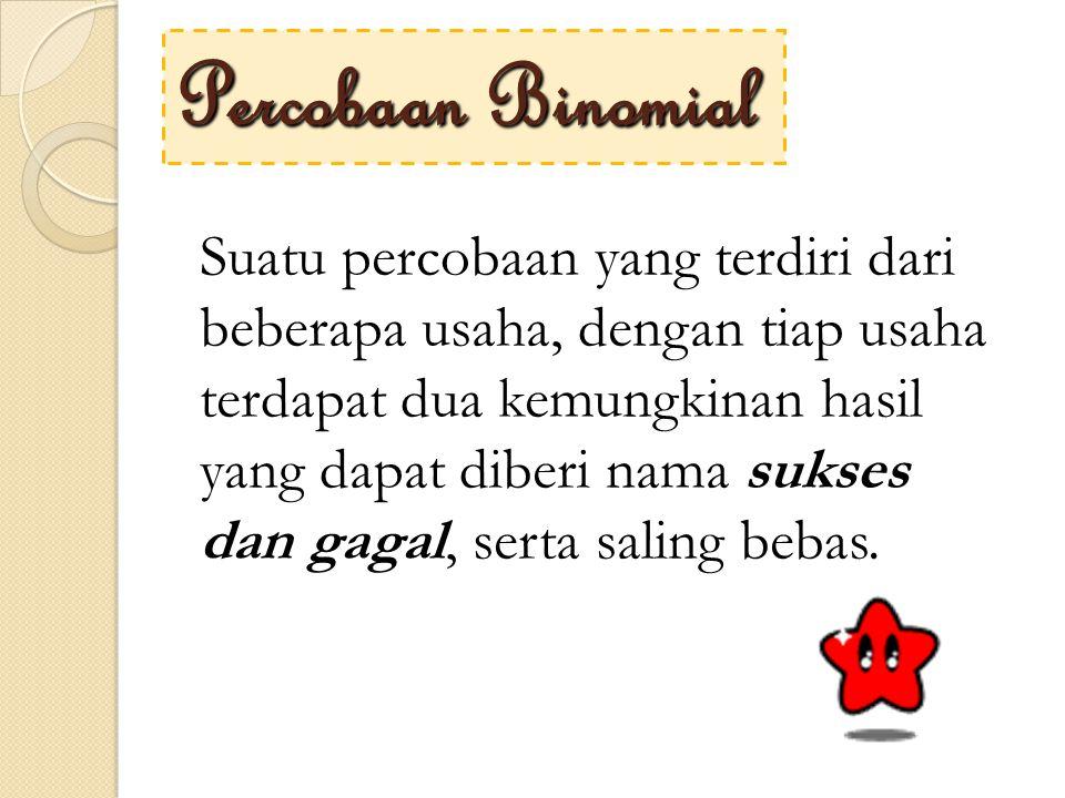 Proses Bernoulli → Distribusi Binomial Distribusi binomial berasal dari percobaan binomial.