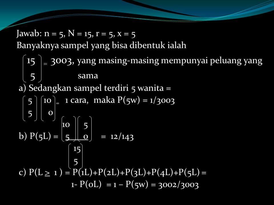 Jawab: n = 5, N = 15, r = 5, x = 5 Banyaknya sampel yang bisa dibentuk ialah 15 = 3003, yang masing-masing mempunyai peluang yang 5 sama a) Sedangkan sampel terdiri 5 wanita = 5 10 = 1 cara, maka P(5w) = 1/3003 5 0 10 5 b) P(5L) = 5 0= 12/143 15 5 c) P(L > 1 ) = P(1L)+P(2L)+P(3L)+P(4L)+P(5L) = 1- P(0L) = 1 – P(5w) = 3002/3003