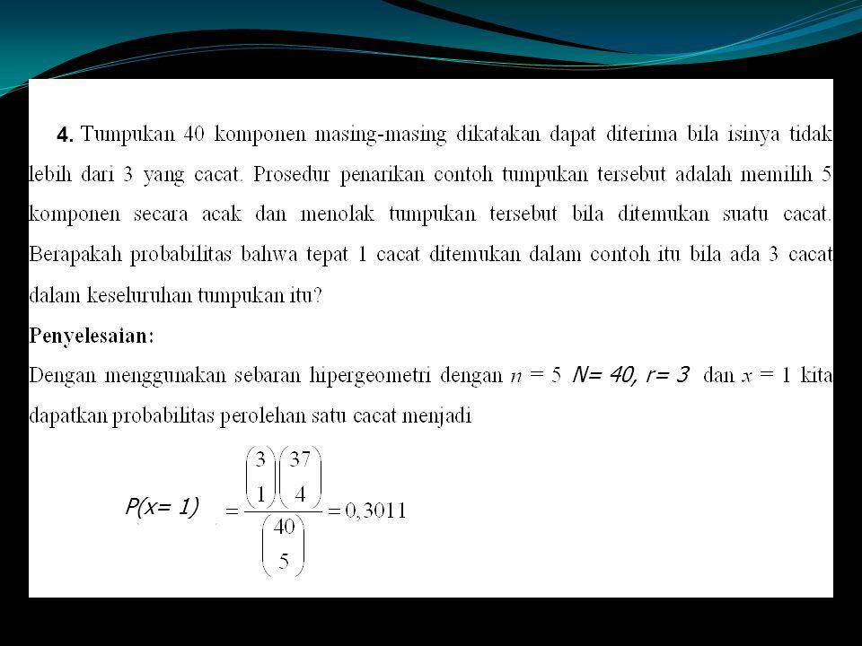 4. N= 40,r= 3 P(x= 1)