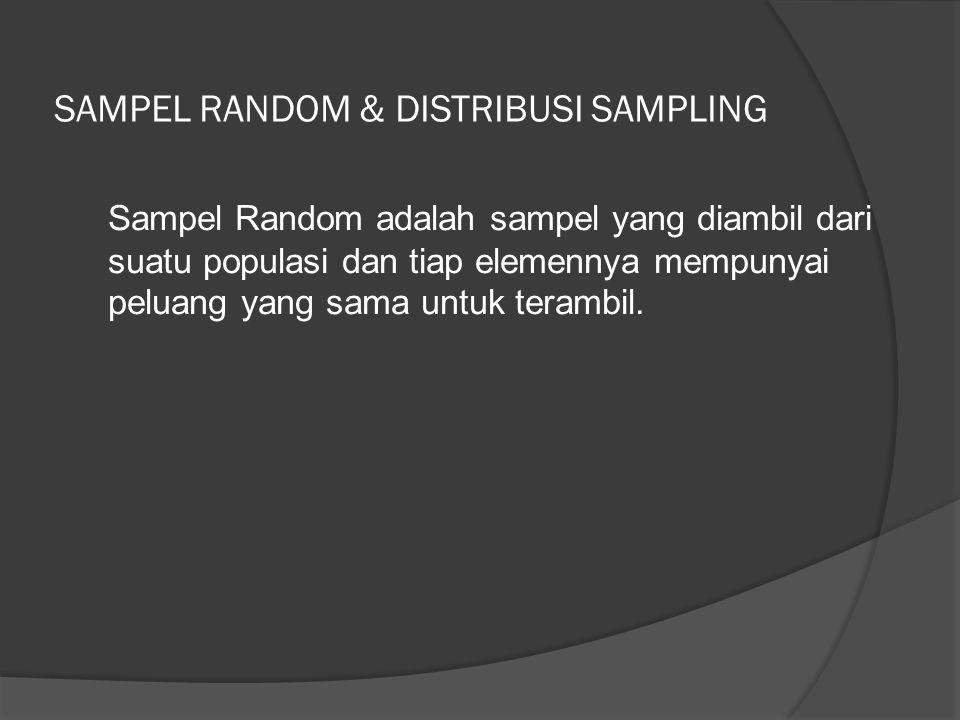 SAMPEL RANDOM & DISTRIBUSI SAMPLING Sampel Random adalah sampel yang diambil dari suatu populasi dan tiap elemennya mempunyai peluang yang sama untuk terambil.