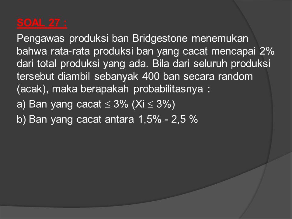 SOAL 27 : Pengawas produksi ban Bridgestone menemukan bahwa rata-rata produksi ban yang cacat mencapai 2% dari total produksi yang ada.