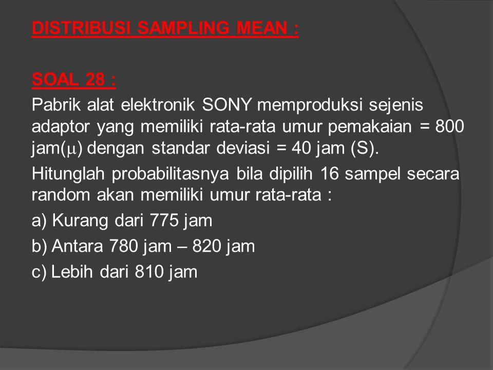 DISTRIBUSI SAMPLING MEAN : SOAL 28 : Pabrik alat elektronik SONY memproduksi sejenis adaptor yang memiliki rata-rata umur pemakaian = 800 jam(  ) dengan standar deviasi = 40 jam (S).