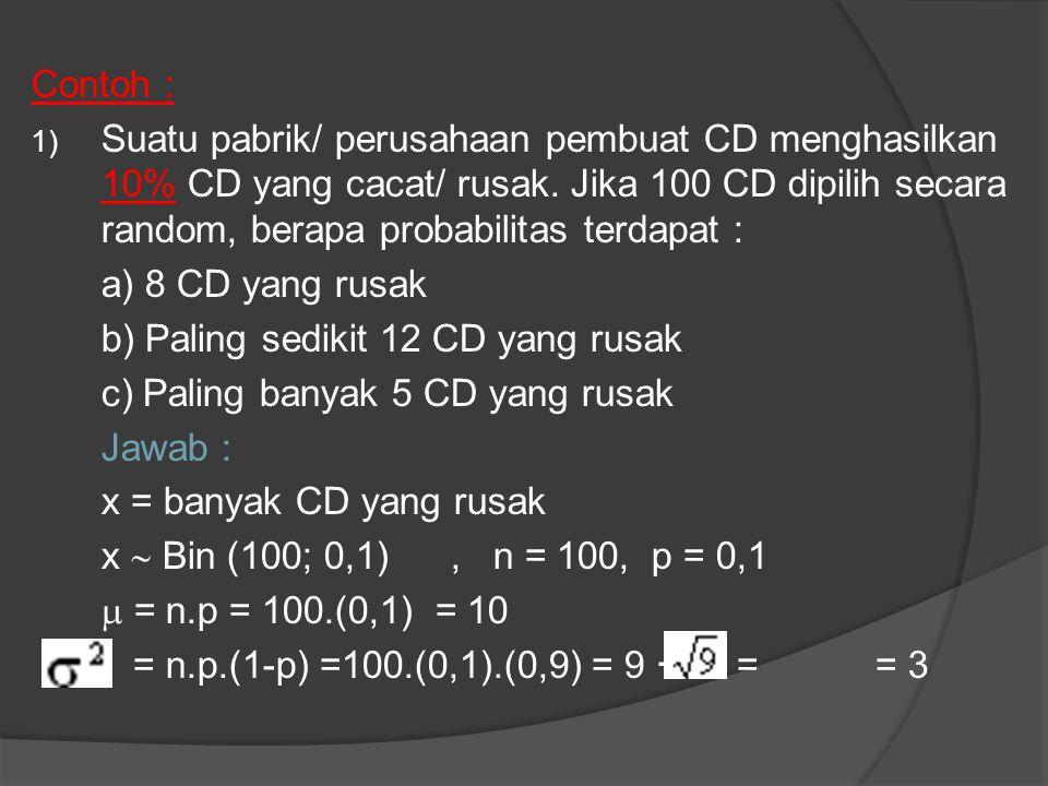 Contoh : 1) Suatu pabrik/ perusahaan pembuat CD menghasilkan 10% CD yang cacat/ rusak.