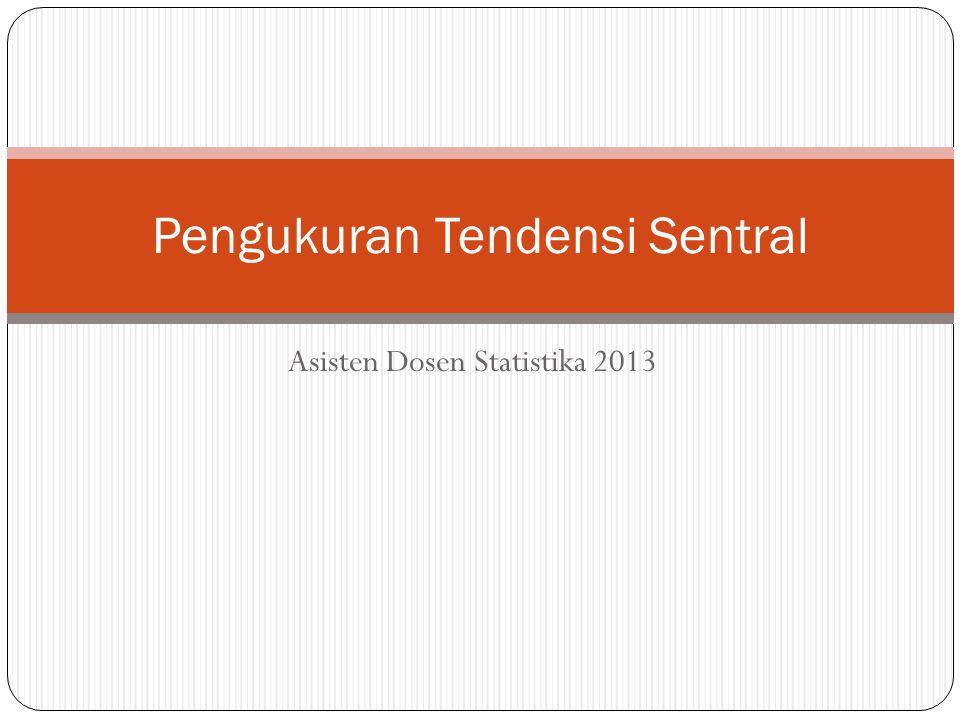 Asisten Dosen Statistika 2013 Pengukuran Tendensi Sentral