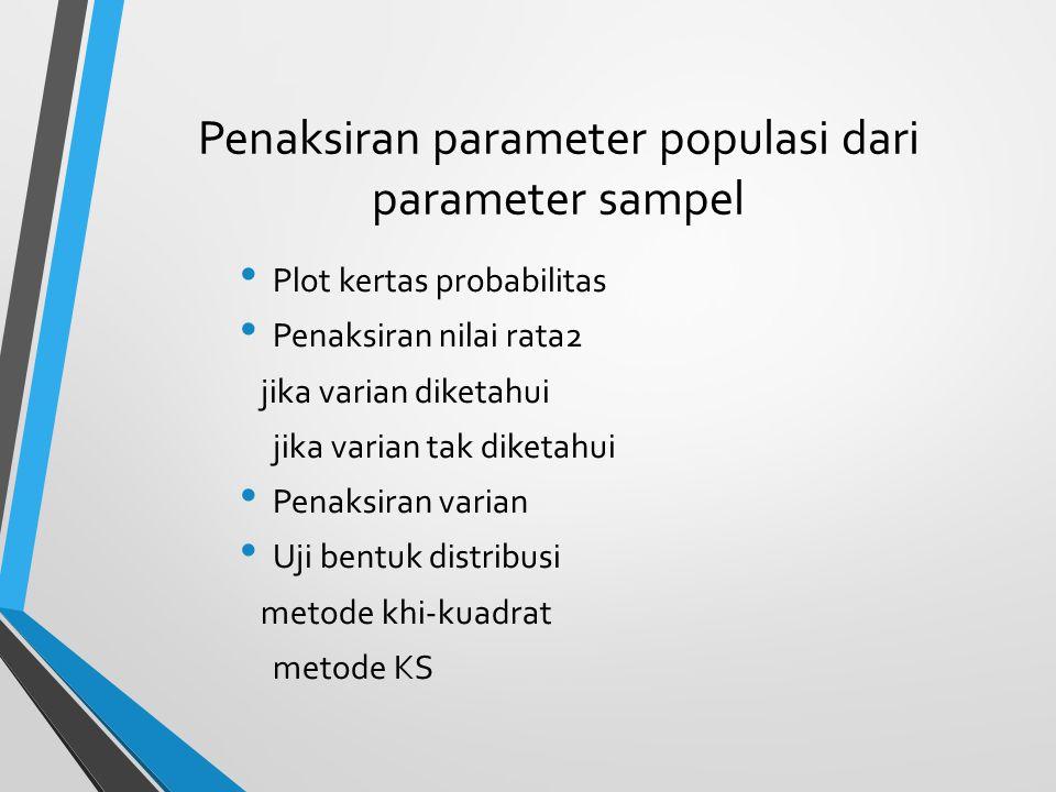 Penaksiran parameter populasi dari parameter sampel Plot kertas probabilitas Penaksiran nilai rata2 jika varian diketahui jika varian tak diketahui Pe