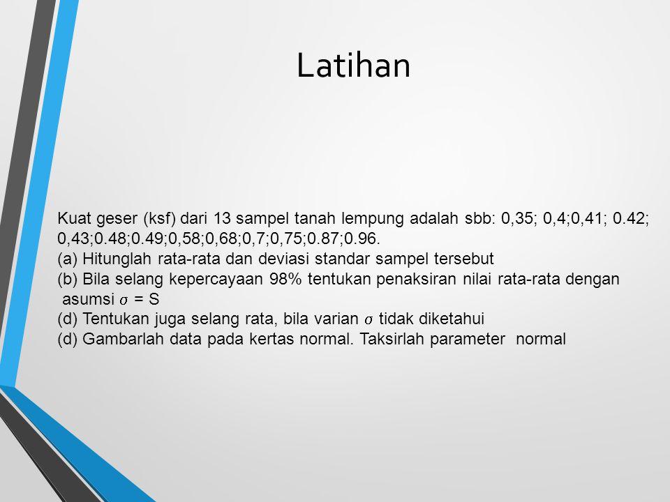 Latihan Kuat geser (ksf) dari 13 sampel tanah lempung adalah sbb: 0,35; 0,4;0,41; 0.42; 0,43;0.48;0.49;0,58;0,68;0,7;0,75;0.87;0.96. (a)Hitunglah rata