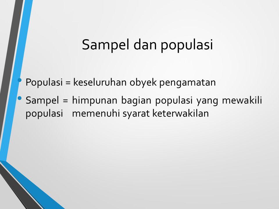 Sampel dan populasi Populasi = keseluruhan obyek pengamatan Sampel = himpunan bagian populasi yang mewakili populasi memenuhi syarat keterwakilan