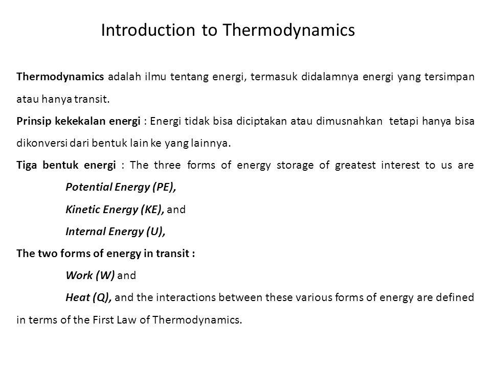 Thermodynamics adalah ilmu tentang energi, termasuk didalamnya energi yang tersimpan atau hanya transit. Prinsip kekekalan energi : Energi tidak bisa