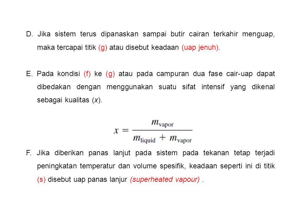 D. Jika sistem terus dipanaskan sampai butir cairan terkahir menguap, maka tercapai titik (g) atau disebut keadaan (uap jenuh). E. Pada kondisi (f) ke