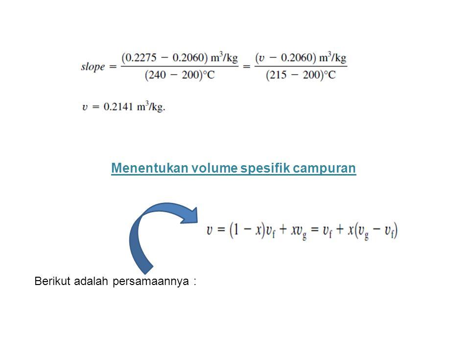 Menentukan volume spesifik campuran Berikut adalah persamaannya :
