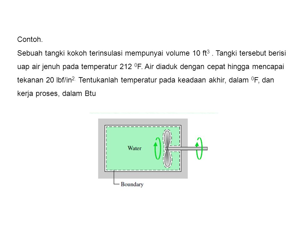 Contoh. Sebuah tangki kokoh terinsulasi mempunyai volume 10 ft 3. Tangki tersebut berisi uap air jenuh pada temperatur 212 0 F. Air diaduk dengan cepa
