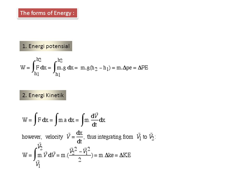 The forms of Energy : 1. Energi potensial 2. Energi Kinetik