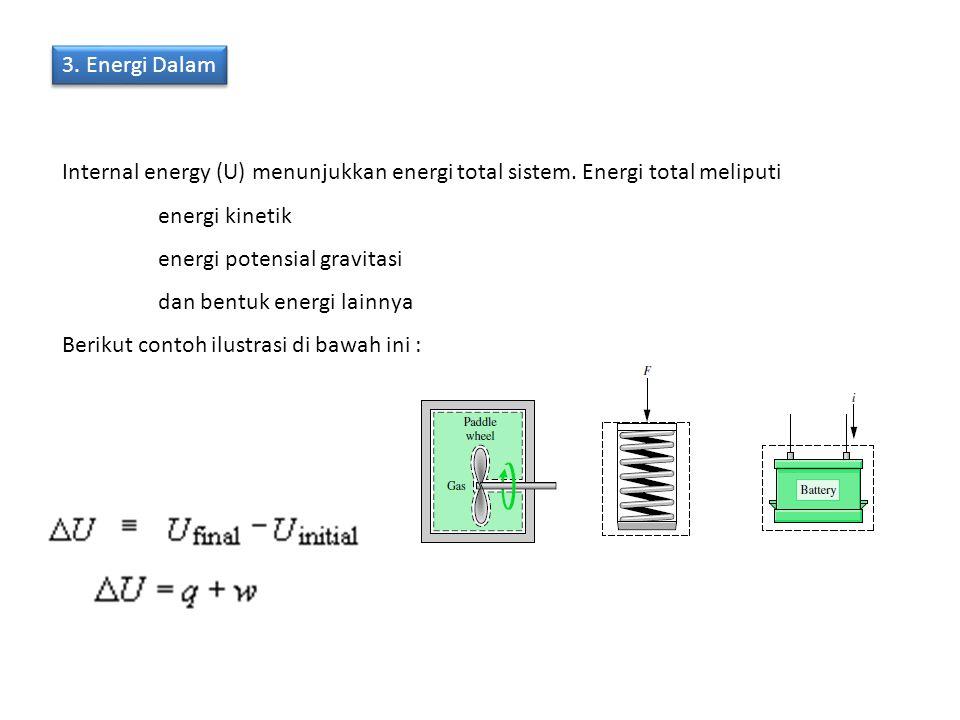 3. Energi Dalam Internal energy (U) menunjukkan energi total sistem. Energi total meliputi energi kinetik energi potensial gravitasi dan bentuk energi
