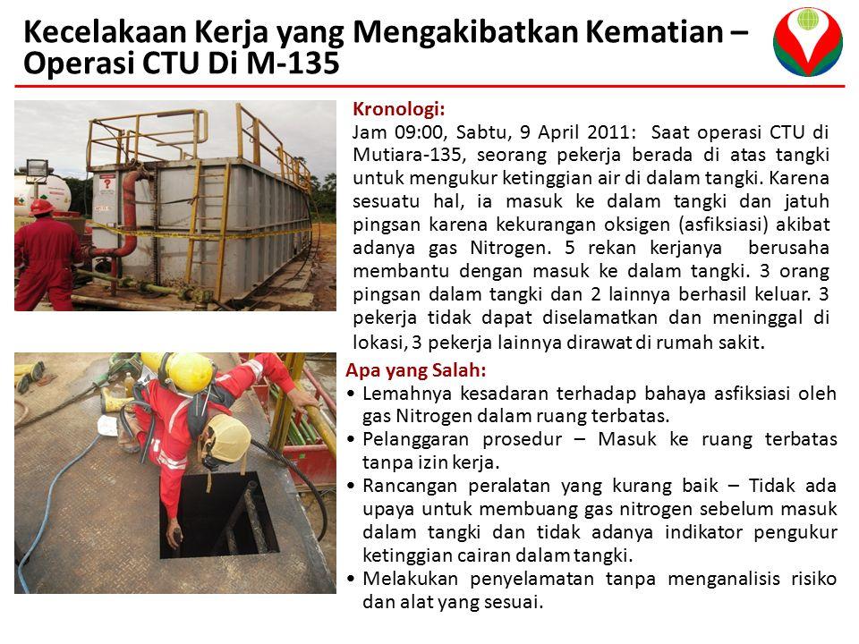 Kecelakaan Kerja yang Mengakibatkan Kematian – Operasi CTU Di M-135 Kronologi: Jam 09:00, Sabtu, 9 April 2011: Saat operasi CTU di Mutiara-135, seorang pekerja berada di atas tangki untuk mengukur ketinggian air di dalam tangki.