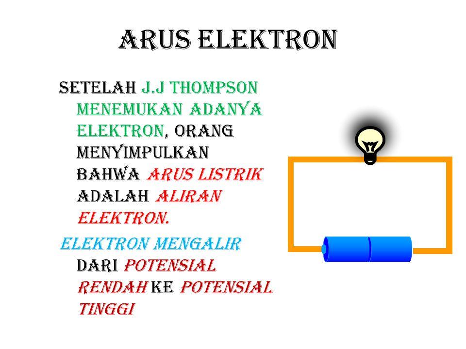 arus konvensional Yang digunakan sebagai acuan: arus konvensional Di dalam kabel arus elektron mengalir berlawanan dengan arus konvensional.