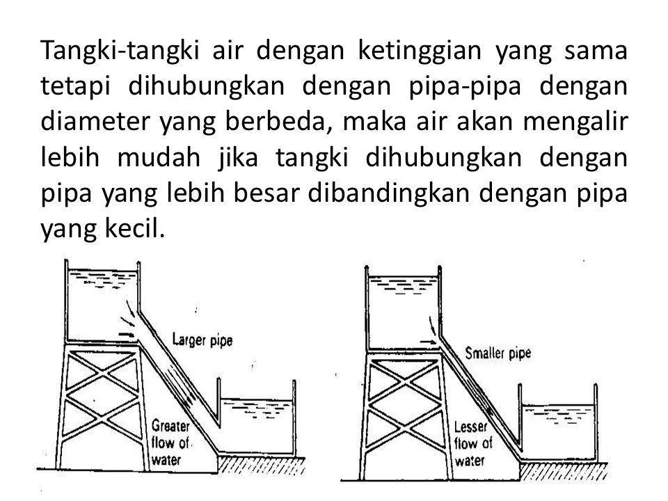 Tangki-tangki air dengan ketinggian yang sama tetapi dihubungkan dengan pipa-pipa dengan diameter yang berbeda, maka air akan mengalir lebih mudah jik