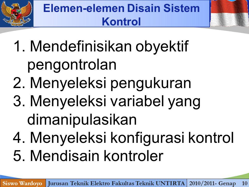 www.themegallery.com Siswo WardoyoJurusan Teknik Elektro Fakultas Teknik UNTIRTA2010/2011- Genap 10 Elemen-elemen Disain Sistem Kontrol 1.