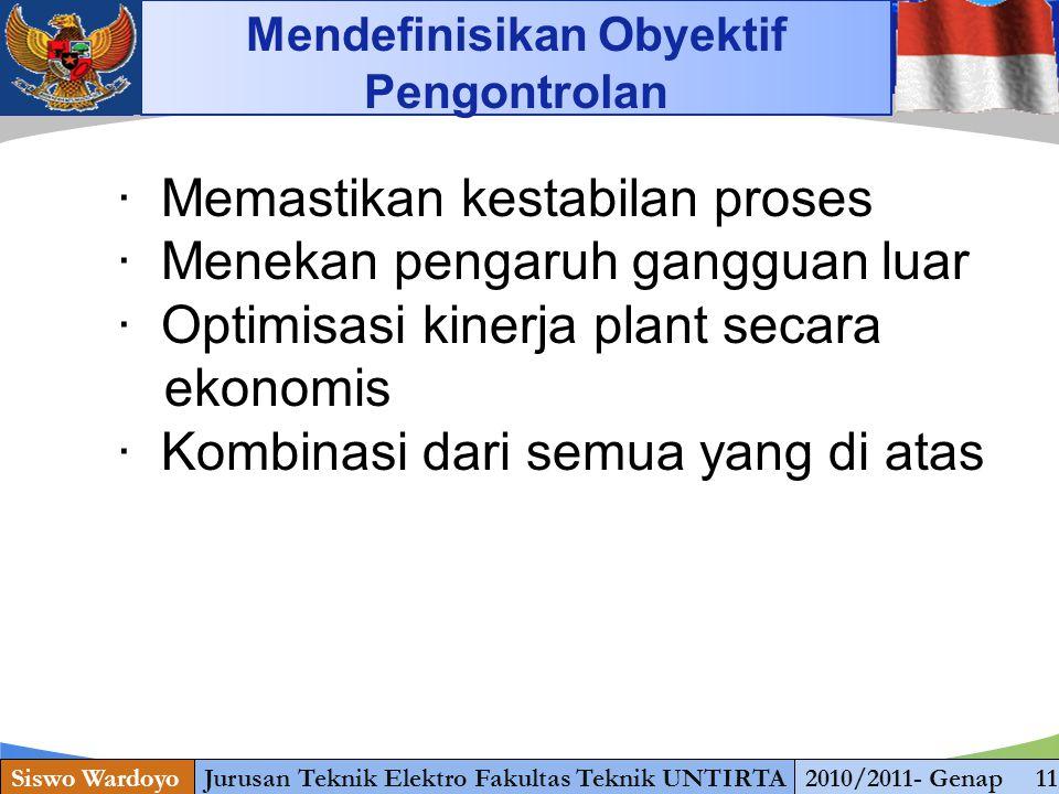 www.themegallery.com Siswo WardoyoJurusan Teknik Elektro Fakultas Teknik UNTIRTA2010/2011- Genap 11 Mendefinisikan Obyektif Pengontrolan · Memastikan kestabilan proses · Menekan pengaruh gangguan luar · Optimisasi kinerja plant secara ekonomis · Kombinasi dari semua yang di atas