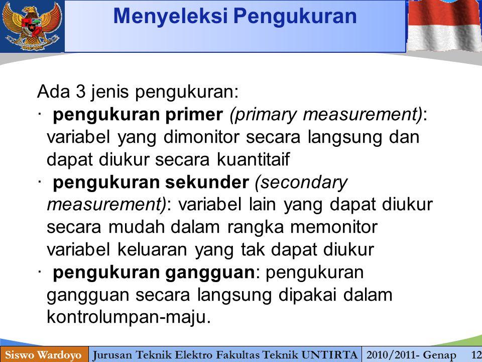 www.themegallery.com Siswo WardoyoJurusan Teknik Elektro Fakultas Teknik UNTIRTA2010/2011- Genap 12 Menyeleksi Pengukuran Ada 3 jenis pengukuran: · pe