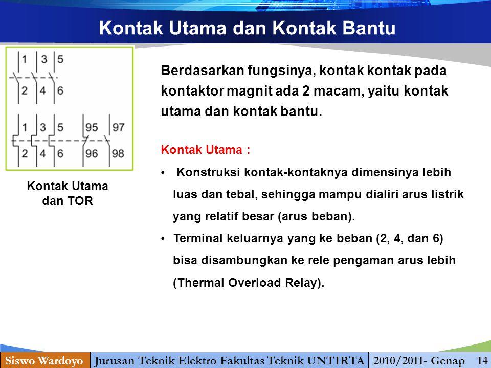 www.themegallery.com Kontak Utama dan Kontak Bantu Kontak Utama dan TOR Berdasarkan fungsinya, kontak kontak pada kontaktor magnit ada 2 macam, yaitu kontak utama dan kontak bantu.