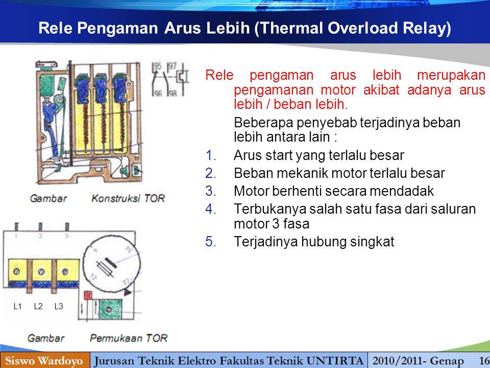 www.themegallery.com Rele Pengaman Arus Lebih (Thermal Overload Relay) Rele pengaman arus lebih merupakan pengamanan motor akibat adanya arus lebih / beban lebih.