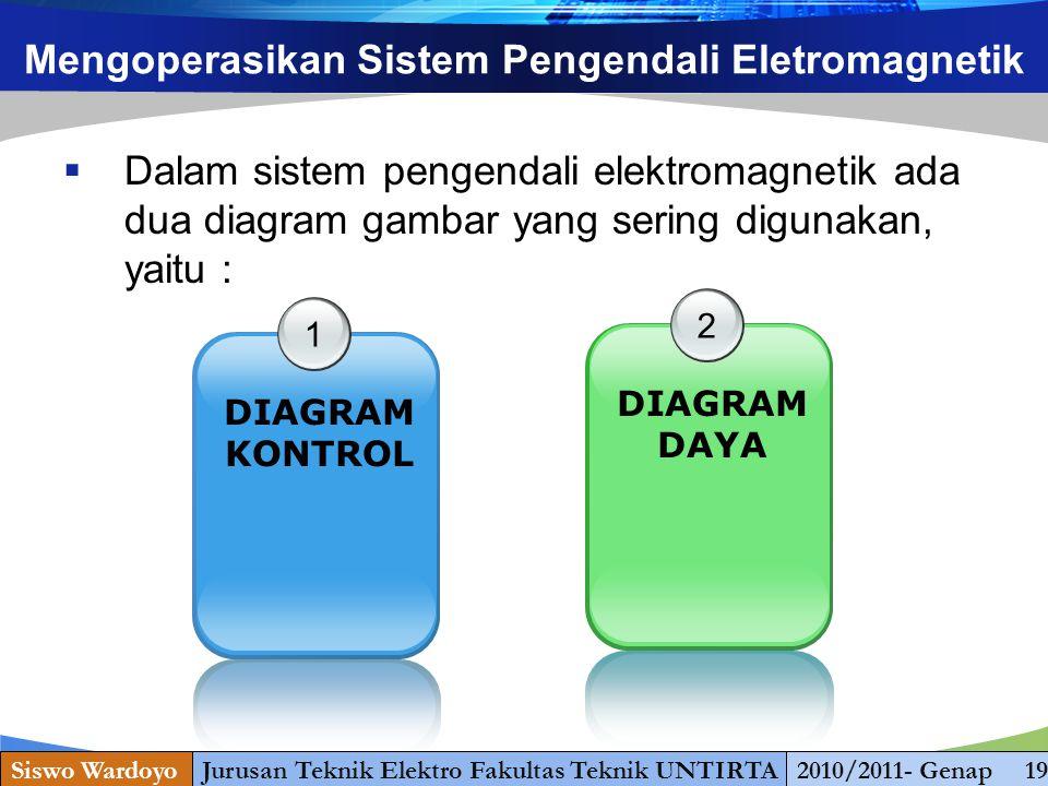 www.themegallery.com Mengoperasikan Sistem Pengendali Eletromagnetik  Dalam sistem pengendali elektromagnetik ada dua diagram gambar yang sering digunakan, yaitu : 1 DIAGRAM KONTROL 2 DIAGRAM DAYA Siswo WardoyoJurusan Teknik Elektro Fakultas Teknik UNTIRTA2010/2011- Genap 19
