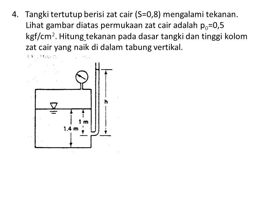 4. Tangki tertutup berisi zat cair (S=0,8) mengalami tekanan. Lihat gambar diatas permukaan zat cair adalah p 0 =0,5 kgf/cm 2. Hitung tekanan pada das