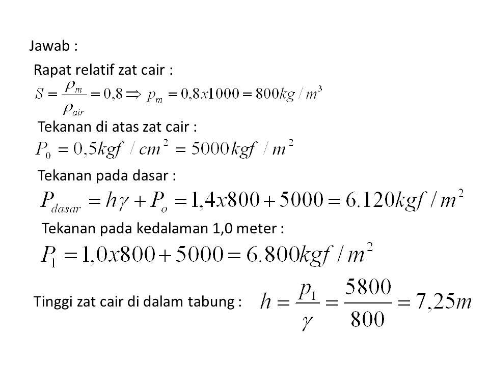 Jawab : Rapat relatif zat cair : Tekanan di atas zat cair : Tekanan pada dasar : Tekanan pada kedalaman 1,0 meter : Tinggi zat cair di dalam tabung :