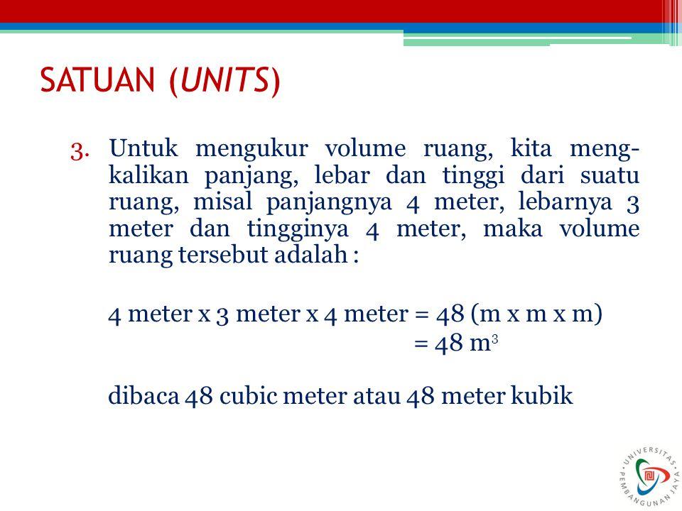 SATUAN (UNITS) 3.Untuk mengukur volume ruang, kita meng- kalikan panjang, lebar dan tinggi dari suatu ruang, misal panjangnya 4 meter, lebarnya 3 meter dan tingginya 4 meter, maka volume ruang tersebut adalah : 4 meter x 3 meter x 4 meter = 48 (m x m x m) = 48 m 3 dibaca 48 cubic meter atau 48 meter kubik