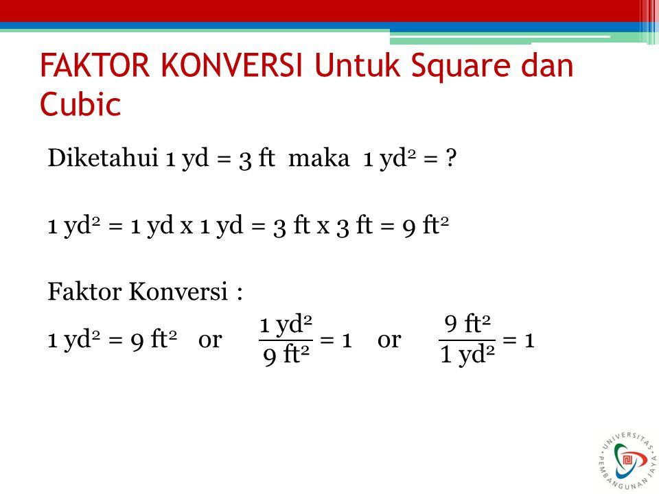 FAKTOR KONVERSI Untuk Square dan Cubic