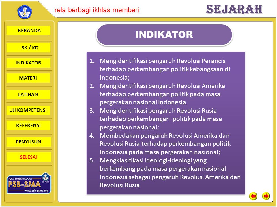 BERANDA SK / KD INDIKATORSejarah rela berbagi ikhlas memberi MATERI LATIHAN UJI KOMPETENSI REFERENSI PENYUSUN SELESAI DAMPAK REVOLUSI PERANCIS BAGI INDONESIA 1.