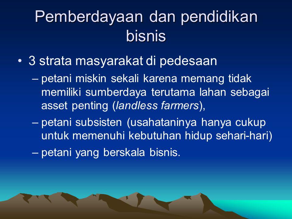 Prioritas pembanguan pertanian Mendesaknya prioritas pembangunan pertanian untuk sumberdaya marjinal –Wilayah –Lahan –Sumberdaya manusia, dsb Wilayah dan lahan: teknologi frontier (budidaya, perikanan, biotek, tanah, HPT) SDM: pemberdayaan, pendidikan bisnis, kewirausahaan (Ek.