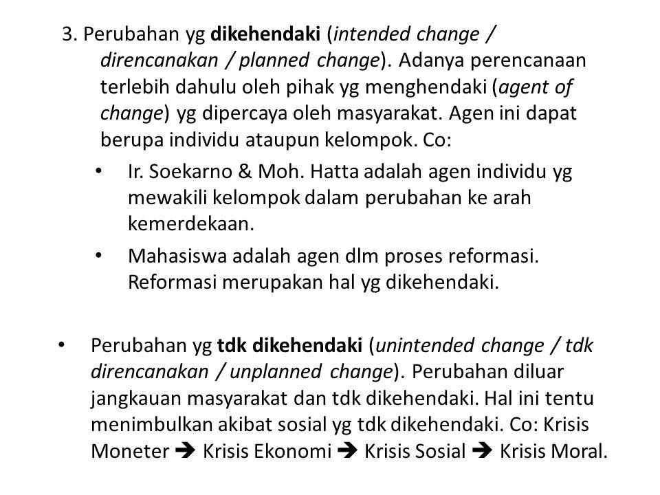 3. Perubahan yg dikehendaki (intended change / direncanakan / planned change). Adanya perencanaan terlebih dahulu oleh pihak yg menghendaki (agent of