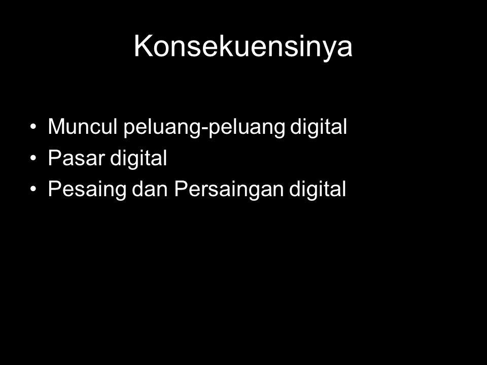 Konsekuensinya Muncul peluang-peluang digital Pasar digital Pesaing dan Persaingan digital