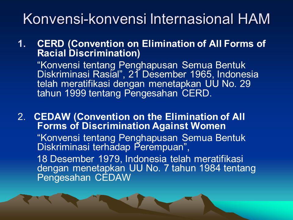 "Konvensi-konvensi Internasional HAM 1.CERD (Convention on Elimination of All Forms of Racial Discrimination) ""Konvensi tentang Penghapusan Semua Bentu"