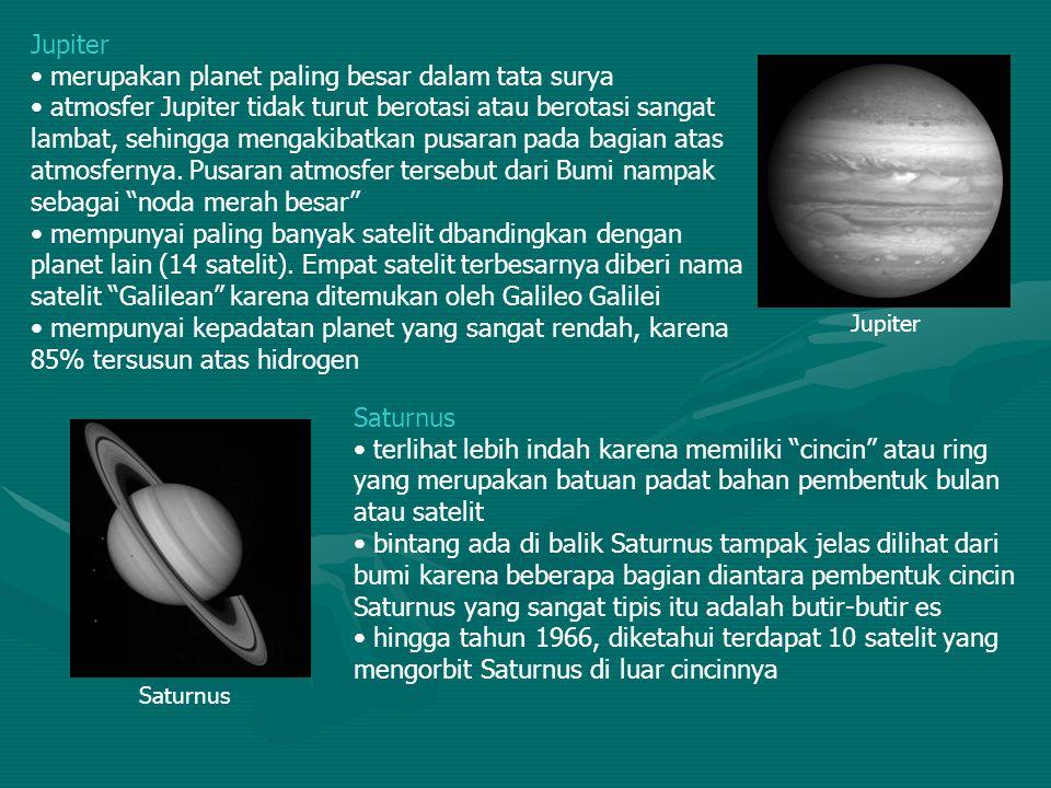 Jupiter merupakan planet paling besar dalam tata surya atmosfer Jupiter tidak turut berotasi atau berotasi sangat lambat, sehingga mengakibatkan pusar