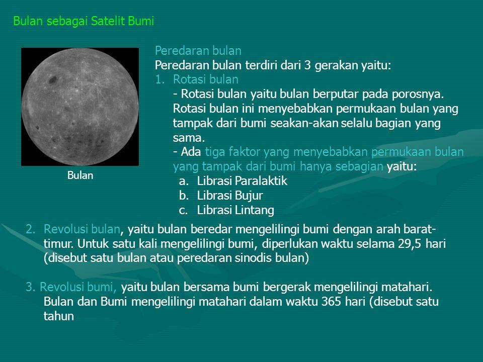 Bulan sebagai Satelit Bumi Peredaran bulan Peredaran bulan terdiri dari 3 gerakan yaitu: 1.Rotasi bulan - Rotasi bulan yaitu bulan berputar pada poros
