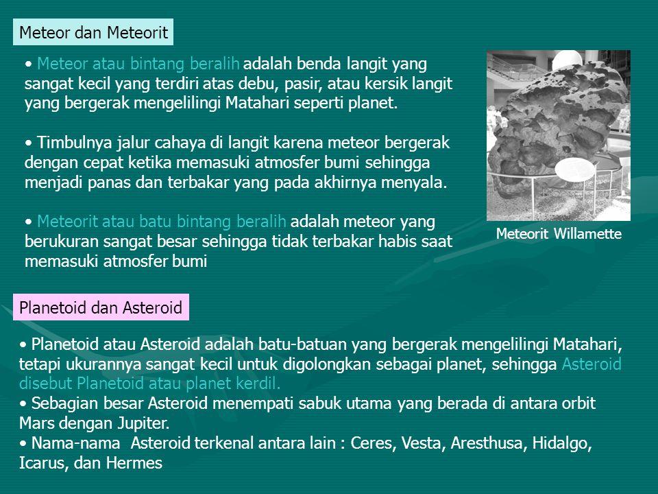 Meteor dan Meteorit Meteor atau bintang beralih adalah benda langit yang sangat kecil yang terdiri atas debu, pasir, atau kersik langit yang bergerak