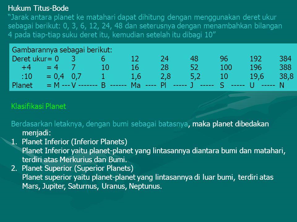 Berdasarkan letaknya dengan planetoid sebagai batasnya, maka planet dibedakan menjadi: a.Planet dalam Planet dalam merupakan planet-planet yang lintasannya terletak diantara bumi dan matahari.