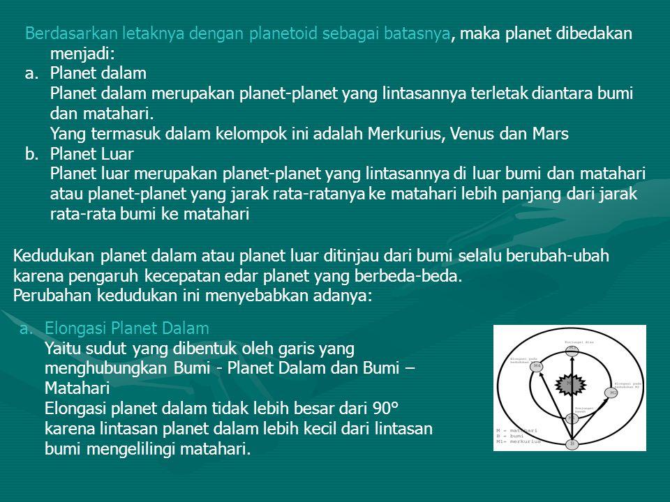 Berdasarkan letaknya dengan planetoid sebagai batasnya, maka planet dibedakan menjadi: a.Planet dalam Planet dalam merupakan planet-planet yang lintas