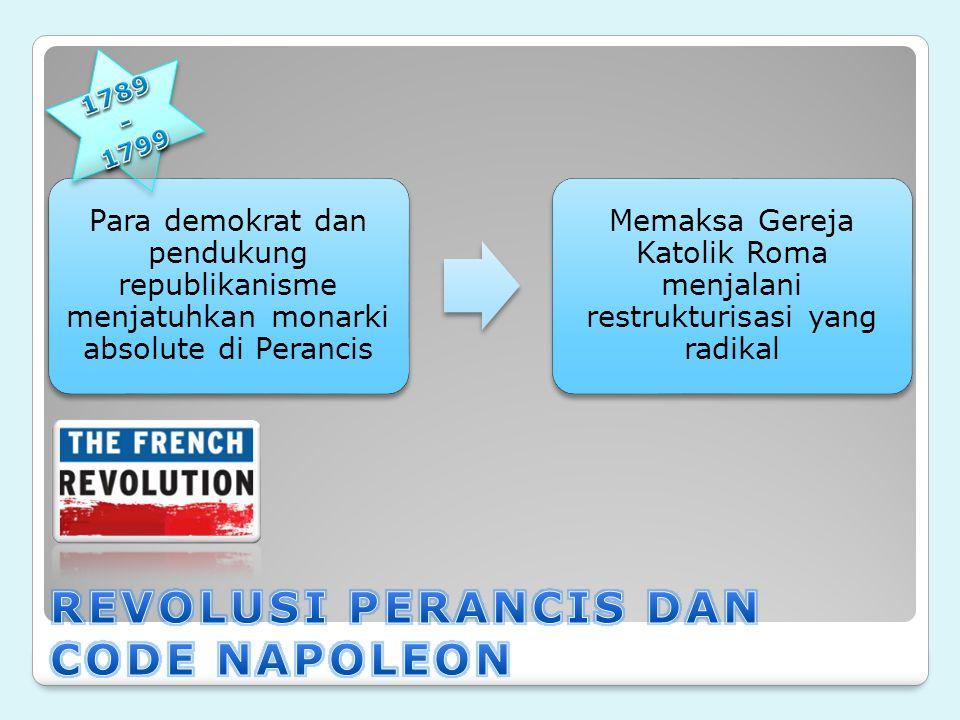 Para demokrat dan pendukung republikanisme menjatuhkan monarki absolute di Perancis Memaksa Gereja Katolik Roma menjalani restrukturisasi yang radikal