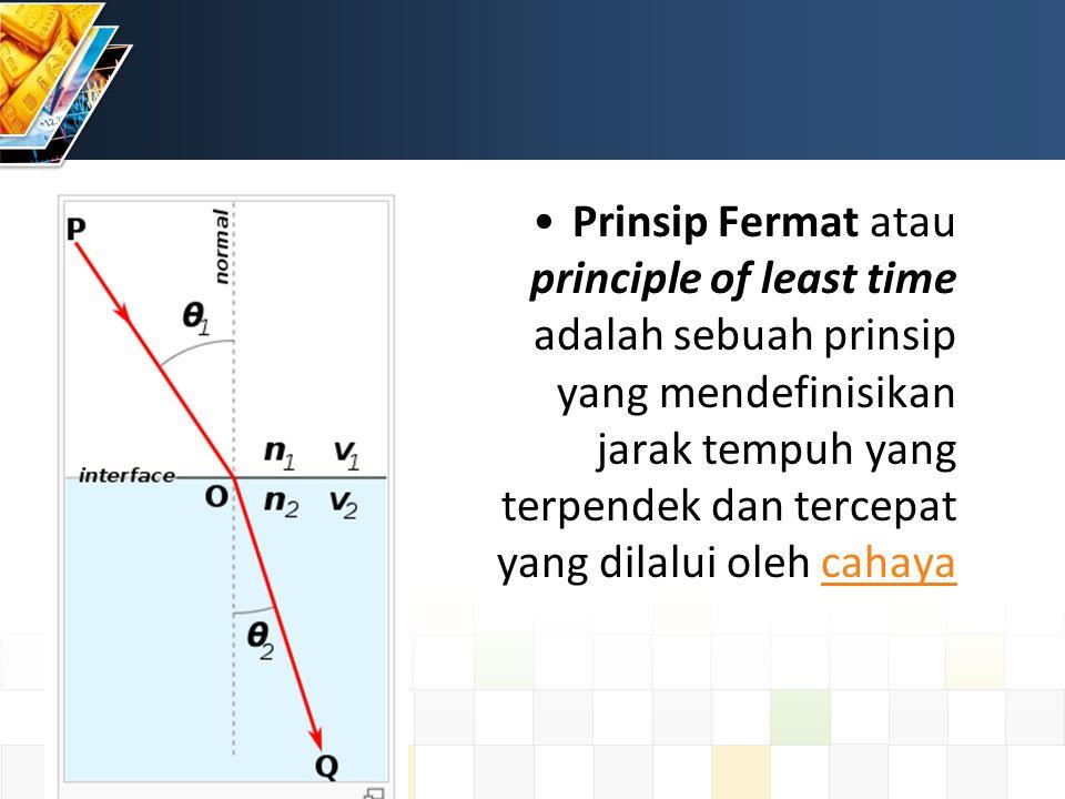 Prinsip Fermat atau principle of least time adalah sebuah prinsip yang mendefinisikan jarak tempuh yang terpendek dan tercepat yang dilalui oleh cahayacahaya