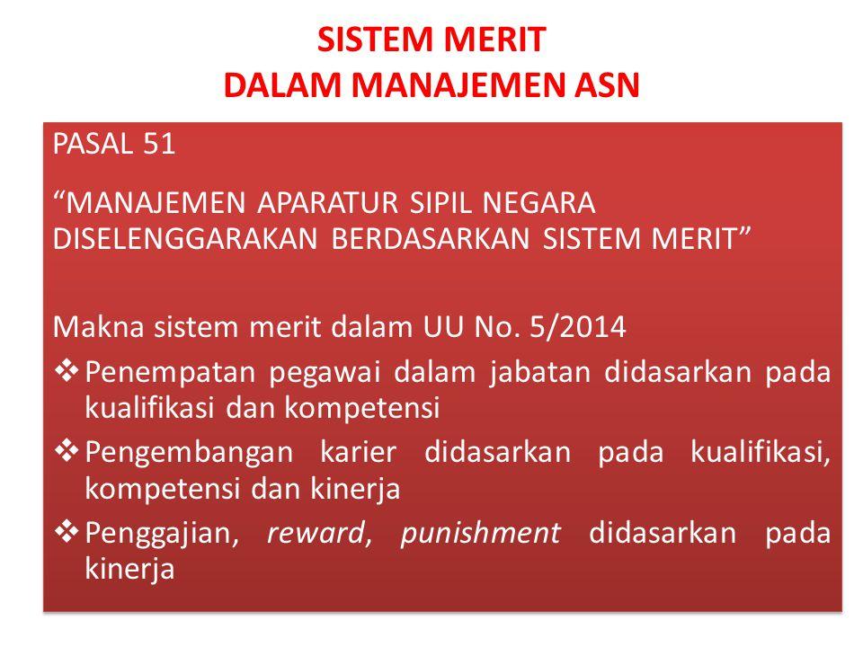 """SISTEM MERIT DALAM MANAJEMEN ASN PASAL 51 """"MANAJEMEN APARATUR SIPIL NEGARA DISELENGGARAKAN BERDASARKAN SISTEM MERIT"""" Makna sistem merit dalam UU No. 5"""