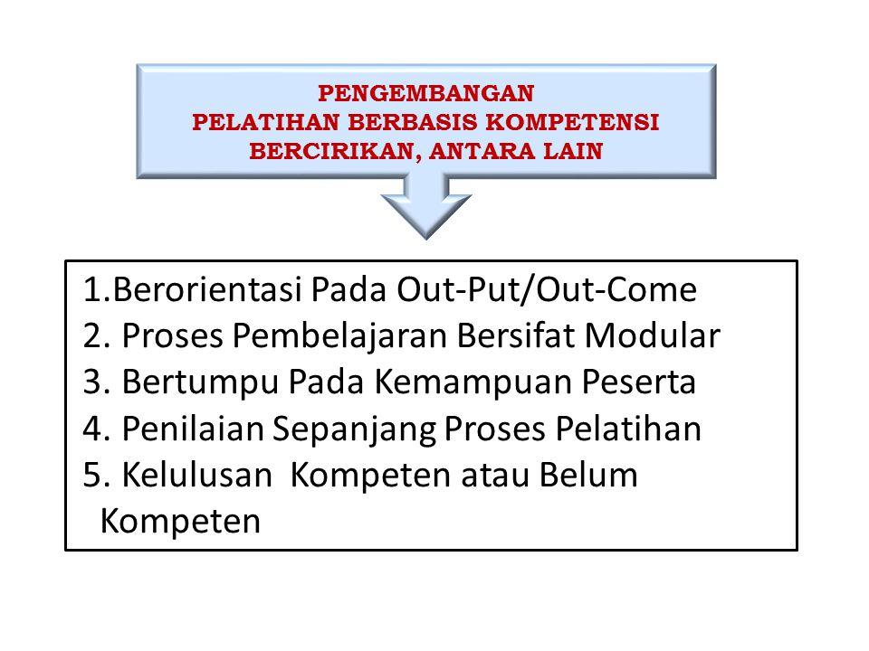 PENGEMBANGAN PELATIHAN BERBASIS KOMPETENSI BERCIRIKAN, ANTARA LAIN 1.Berorientasi Pada Out-Put/Out-Come 2. Proses Pembelajaran Bersifat Modular 3. Ber