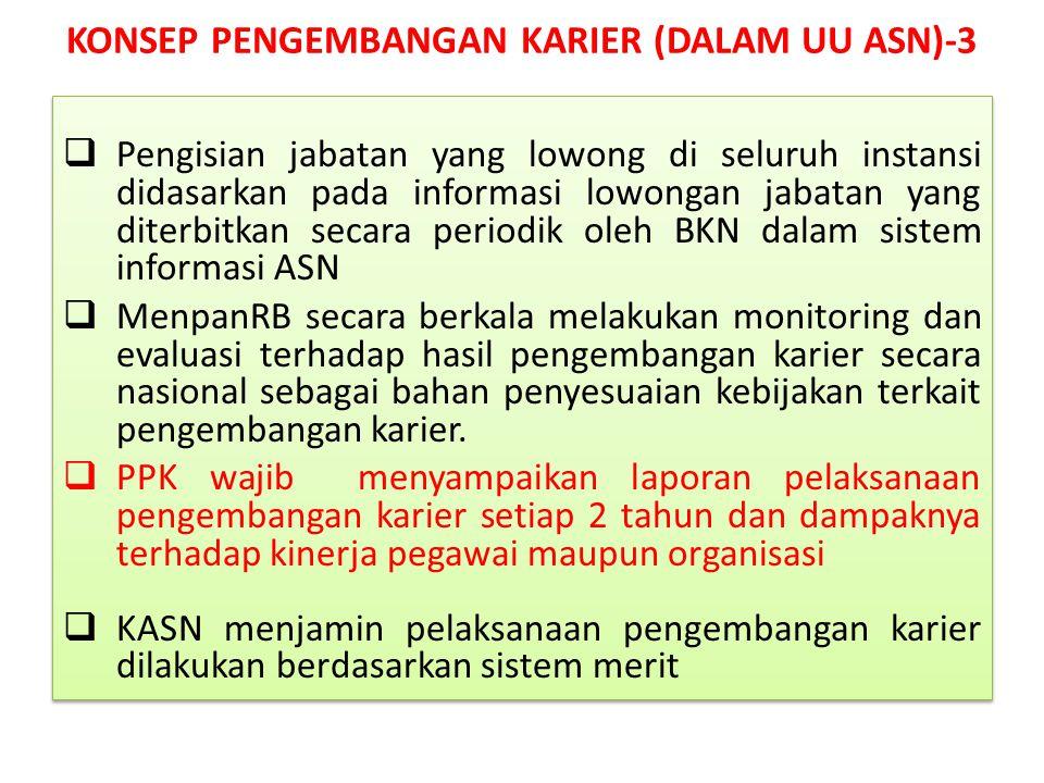  Pengisian jabatan yang lowong di seluruh instansi didasarkan pada informasi lowongan jabatan yang diterbitkan secara periodik oleh BKN dalam sistem