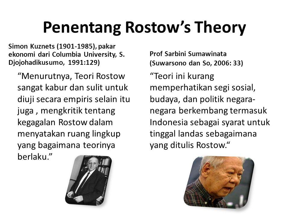 Penentang Rostow's Theory (cont) Judistira K.Gama Kurang memperhatikan faktor politik dari pembangunan ekonomi yang dipaksakan dalam percepatan pembangunan.