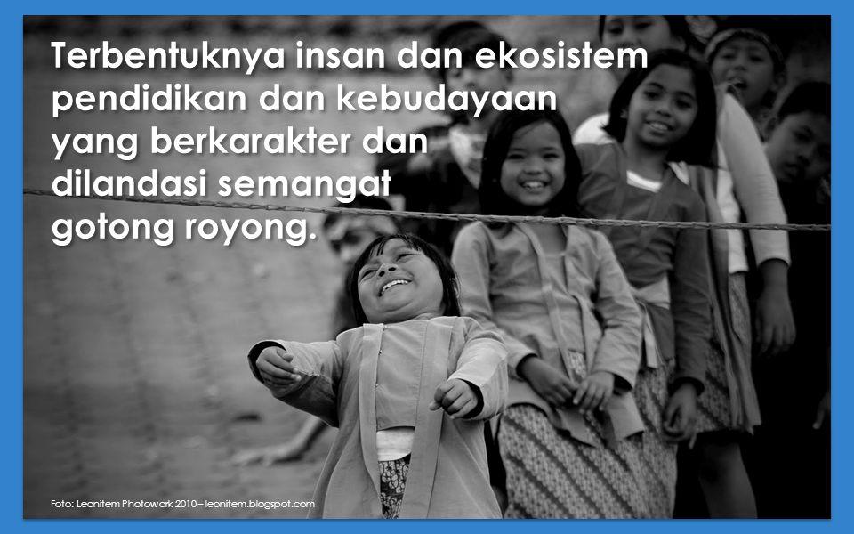 Terbentuknya insan dan ekosistem pendidikan dan kebudayaan yang berkarakter dan dilandasi semangat gotong royong. Foto: Leonitem Photowork 2010 – leon
