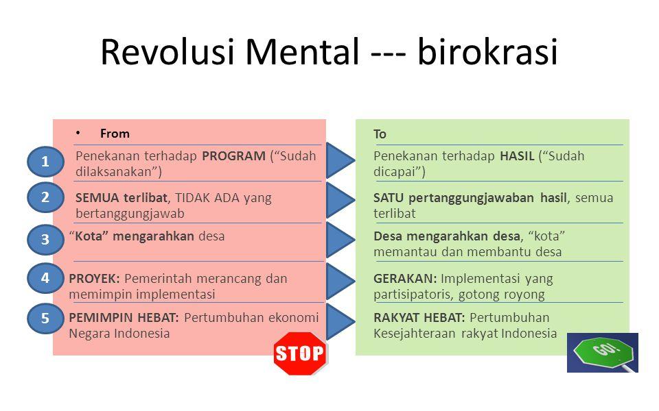 "Revolusi Mental --- birokrasi From Penekanan terhadap PROGRAM (""Sudah dilaksanakan"") To Penekanan terhadap HASIL (""Sudah dicapai"") SEMUA terlibat, TID"
