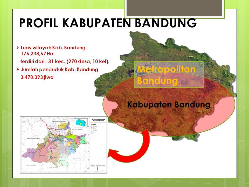 Luas wilayah Kab. Bandung 176.238,67 Ha terdiri dari : 31 kec. (270 desa, 10 kel).  Jumlah penduduk Kab. Bandung 3.470.393 jiwa Kabupaten Bandung P