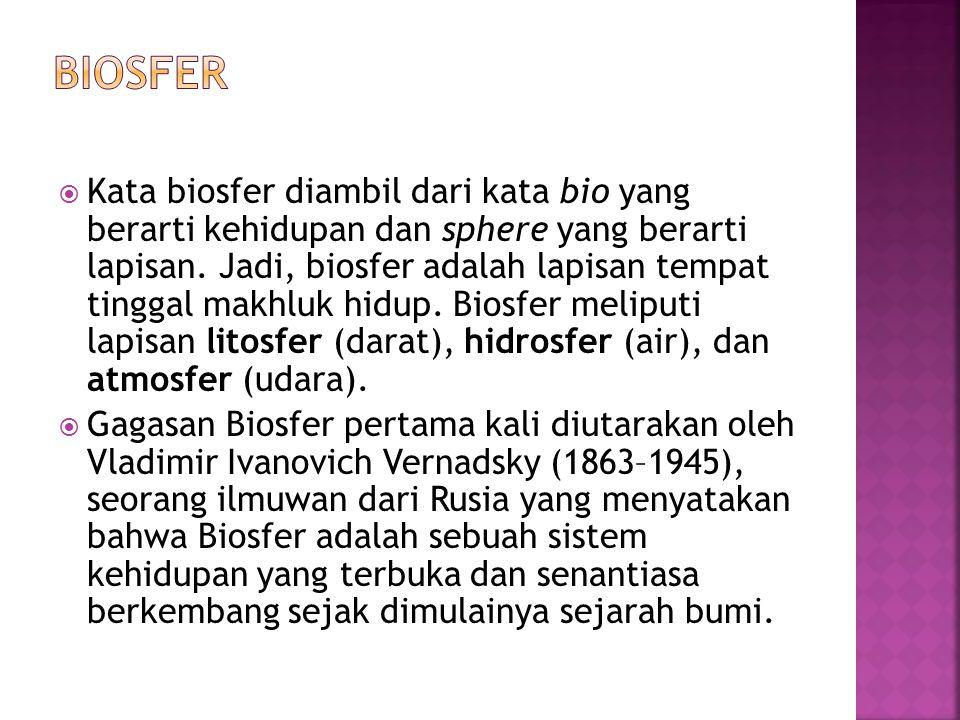  Kata biosfer diambil dari kata bio yang berarti kehidupan dan sphere yang berarti lapisan. Jadi, biosfer adalah lapisan tempat tinggal makhluk hidup
